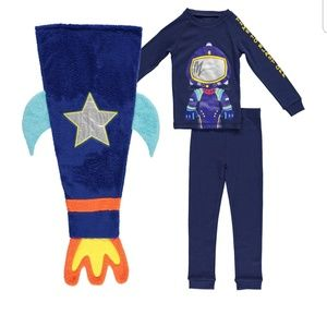 Bunz Kids Pajamas - 2t Space ship blanket with pajamas